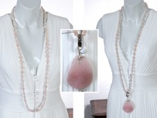 Long morganite necklace & rose quartz pendant