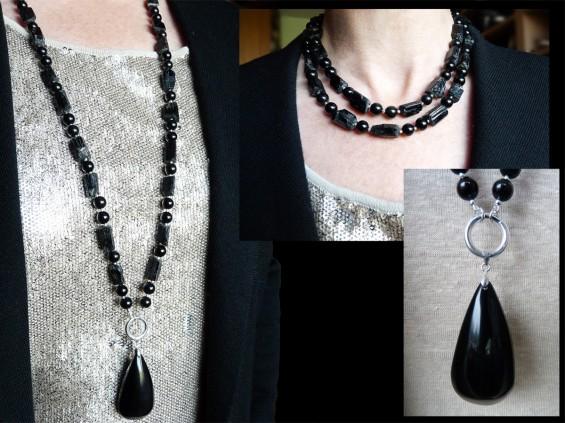 Obsidian & toermaline necklace