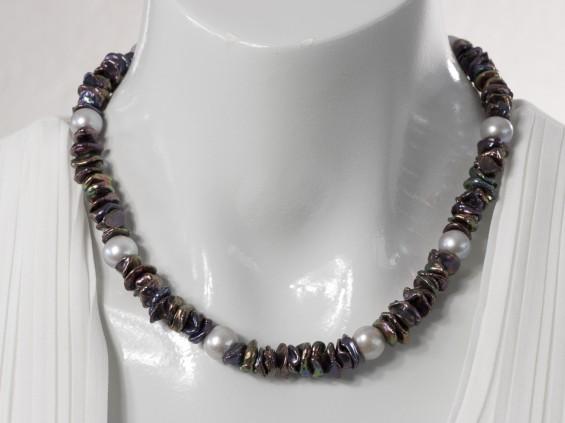 Short black Keshi pearl necklace