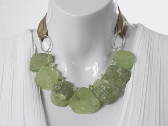 Adjustable green Prehnite necklace