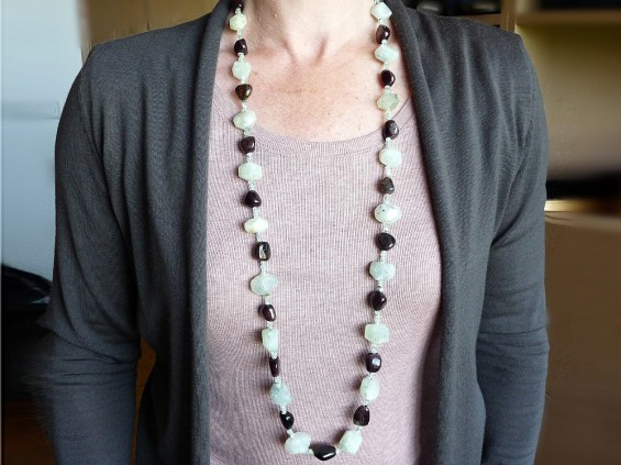 Prehnite and tourmaline necklace