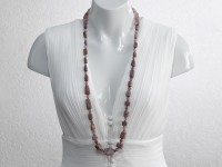 Long ruby nuggets necklace