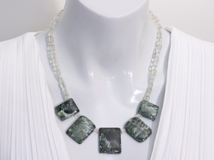 Seraphinite necklace with green amethyst
