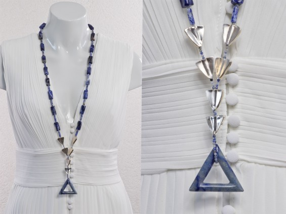 Blue sodalite long necklace
